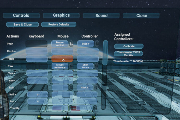 End Space Control Remapping Screen